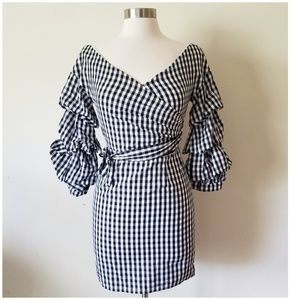 Do + Be Dress Black Gingham Shift Puff Sleeve Wrap